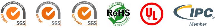 ISO, RoHS, UL, IPC
